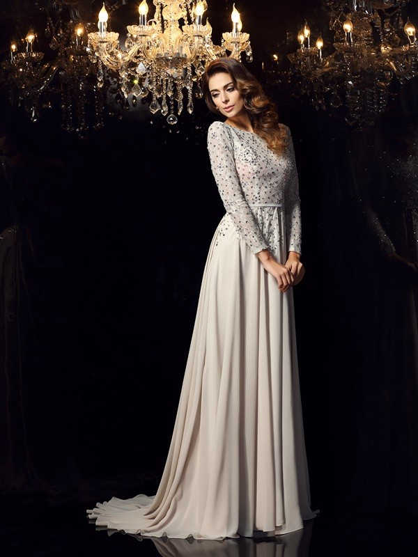 A-Line/Princess Scoop Chiffon Long Sleeves Court Train Dresses