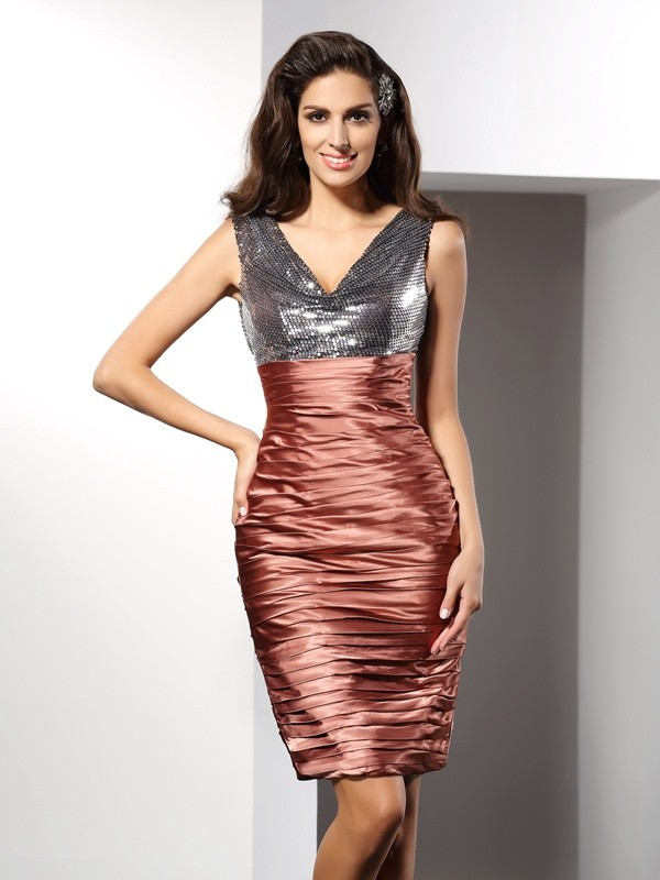Sheath/Column V-neck Silk like Satin Sleeveless Knee-Length Dresses