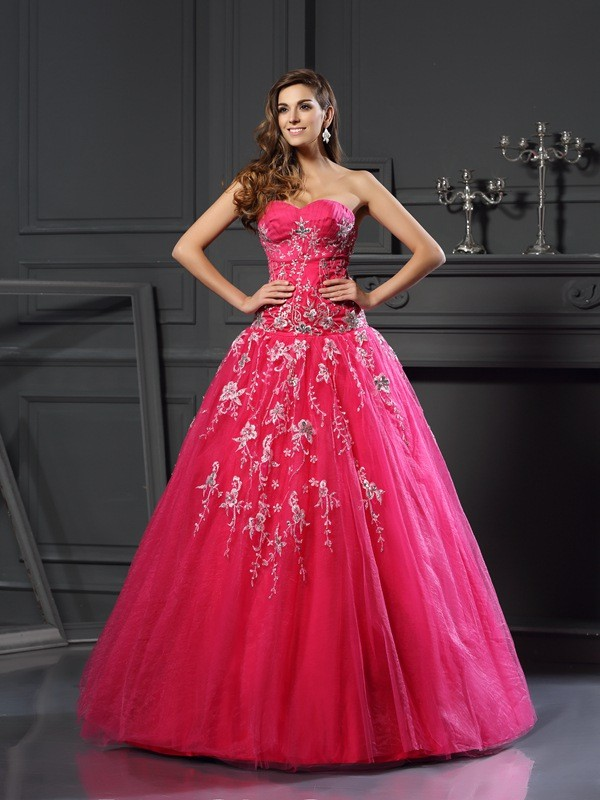 Ball Gown Sweetheart Net Sleeveless Floor-Length Dresses