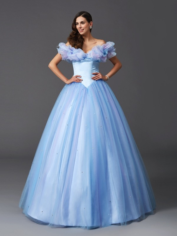 Ball Gown Off-the-Shoulder Net Sleeveless Floor-Length Prom Dresses