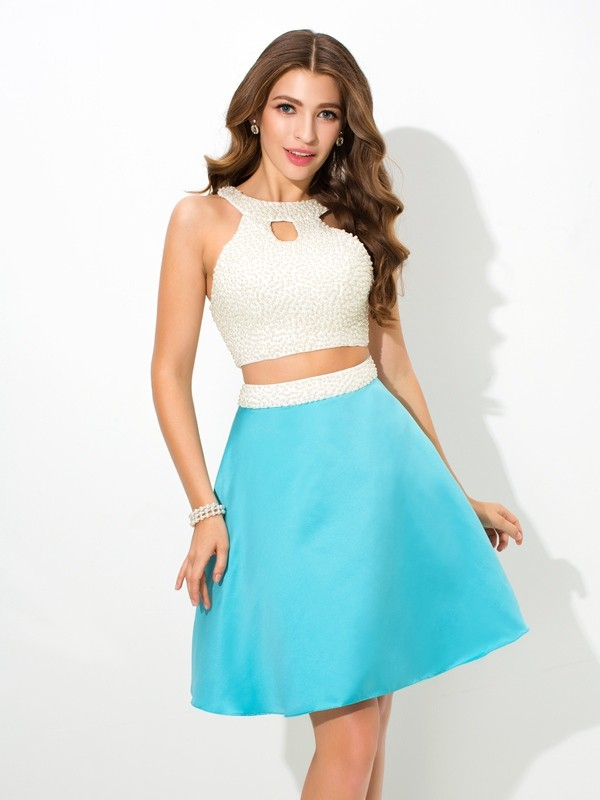 A-Line/Princess Jersey Satin Sleeveless Short/Mini Two Piece Dresses