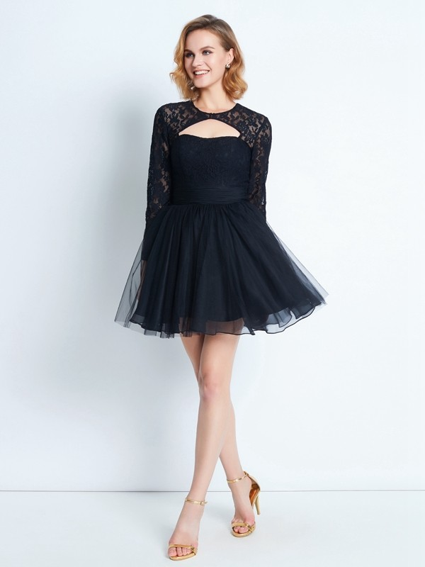 A-Line/Princess High Neck Net Long Sleeves Short/Mini Homecoming Dresses