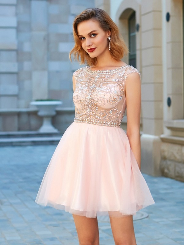 A-Line/Princess Scoop Net Short Sleeves Short/Mini Homecoming Dresses