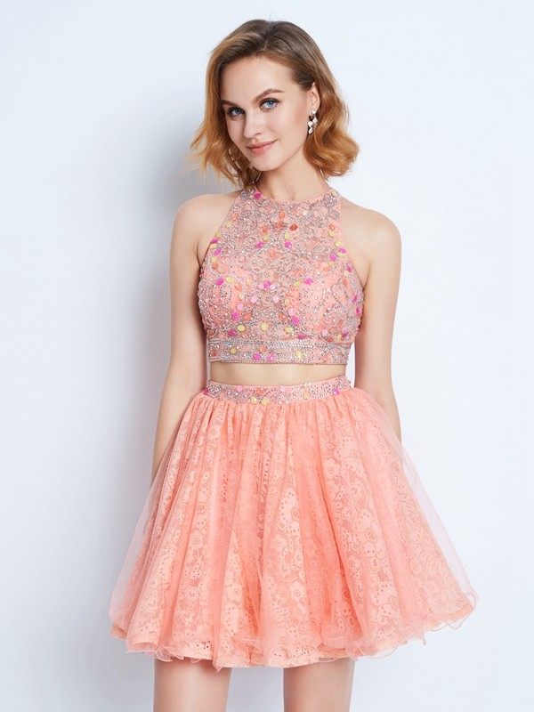 A-Line/Princess Jewel Lace Sleeveless Short/Mini Two Piece Homecoming Dresses