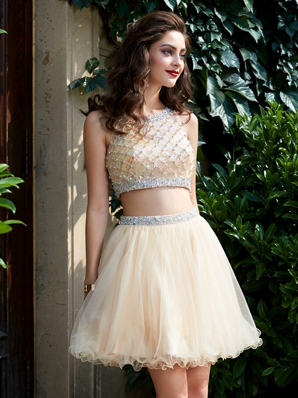 A-Line/Princess Scoop Net Sleeveless Short/Mini Two Piece Homecoming Dresses