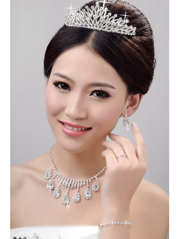 Gorgeous Awesome Alloy Clear Crystals Wedding Headpieces Necklaces Earrings Set