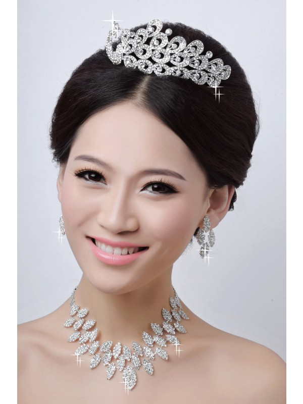Gorgeous Charming Alloy Clear Crystals Wedding Headpieces Necklaces Earrings Set