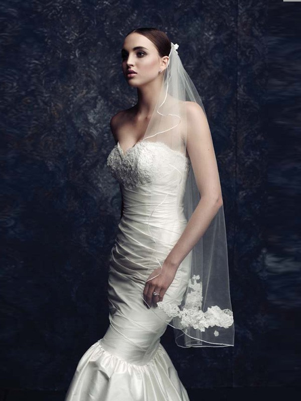 Fashion Trends Elegant Tulle With Embroidery Wedding Veils