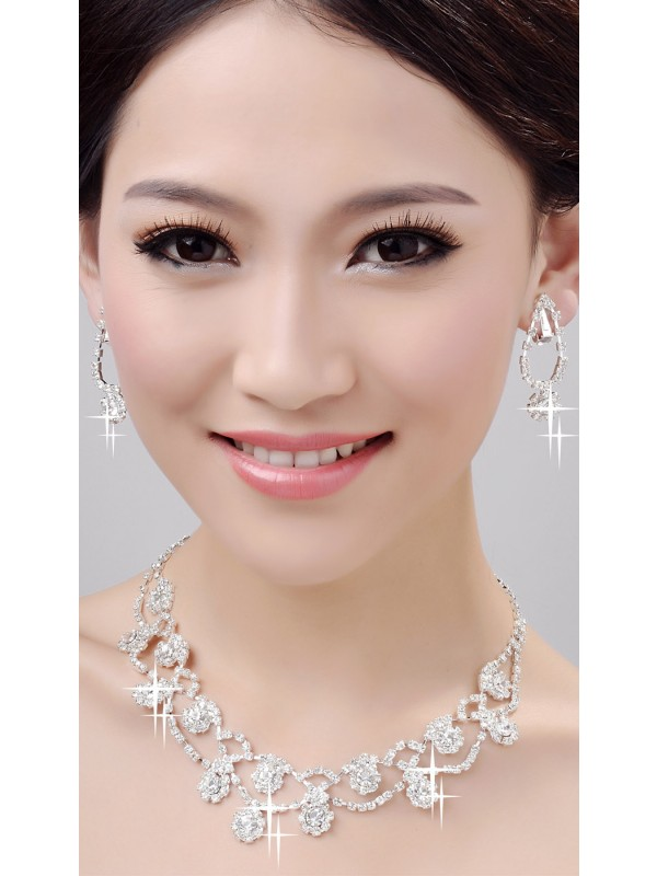 Gorgeous Glamorous Alloy Clear Crystals Wedding Necklaces Earrings Set
