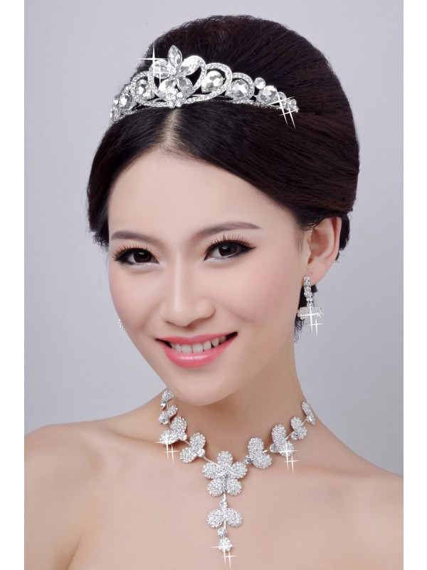 Gorgeous Hot Sale Alloy Clear Crystals Flower Wedding Headpieces Necklaces Earrings Set