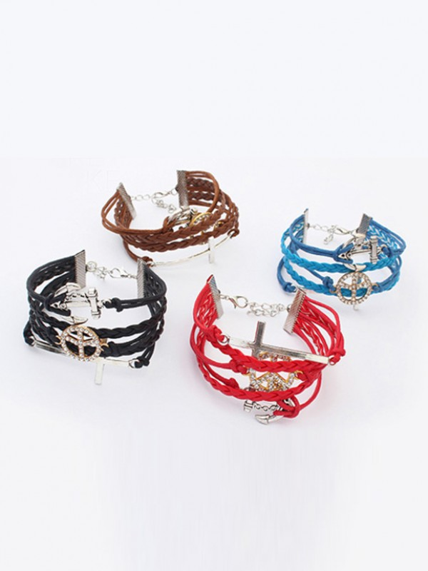 The Most Fashionable Occident Retro Anchor Cruciate woven Hot Sale Bracelets