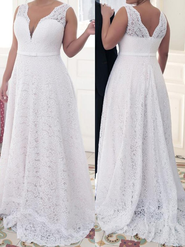 A-Line/Princess V-neck Lace Sleeveless Sweep/Brush Train Plus Size Dresses