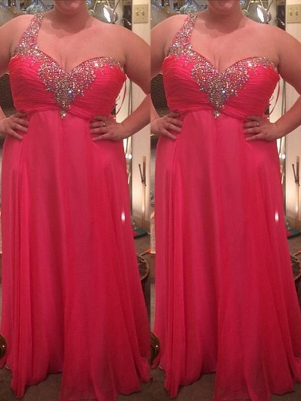 A-Line/Princess One-Shoulder Chiffon Sleeveless Floor-Length Plus Size Dresses