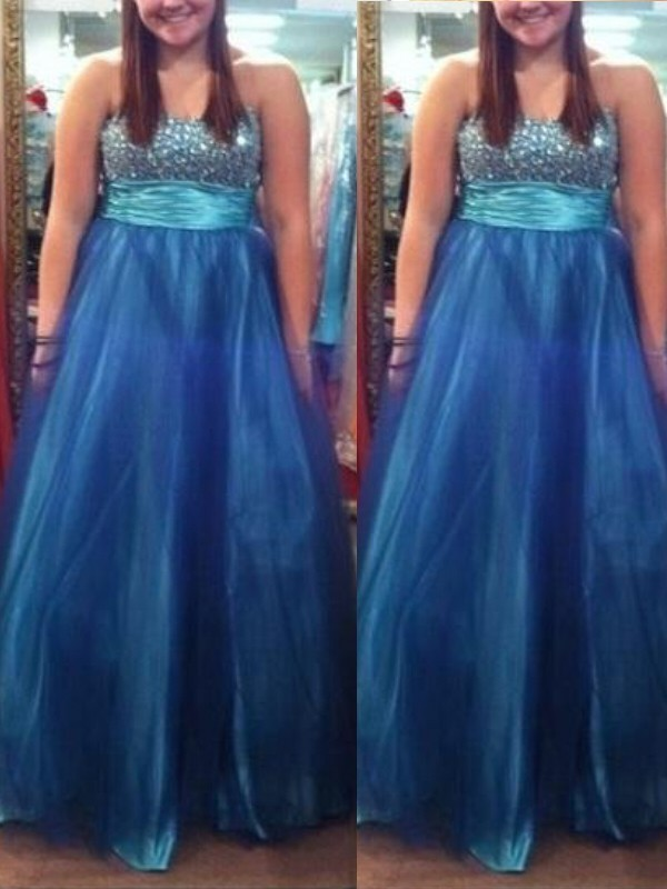 A-Line/Princess Sweetheart Tulle Sleeveless Floor-Length Plus Size Dresses