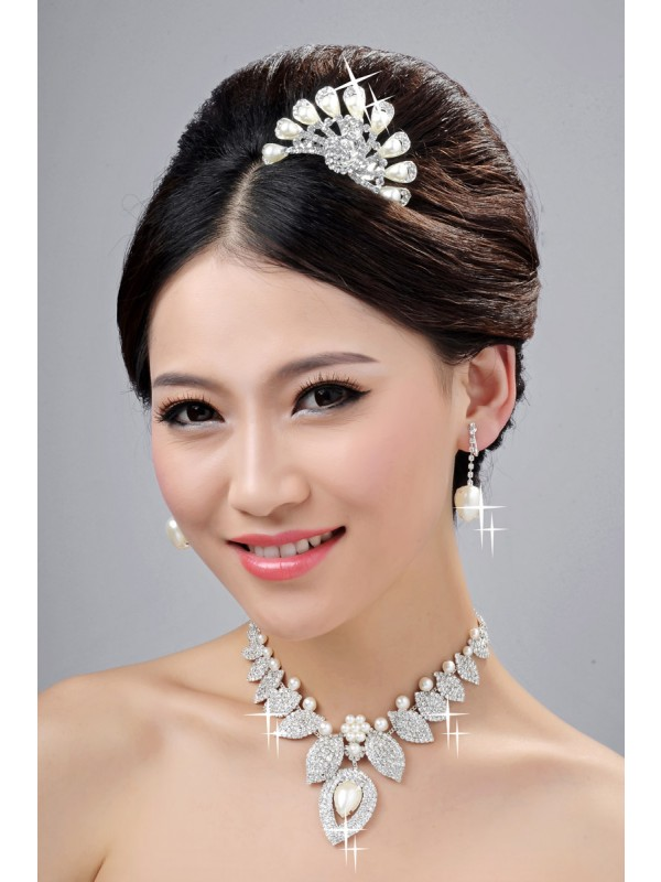 Gorgeous New Style Alloy Clear Crystals Pearl Wedding Headpieces Necklaces Earrings Set