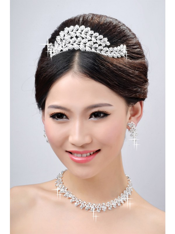 Gorgeous New Style Beautiful Alloy Clear Crystals Wedding Headpieces Necklaces Earrings Set