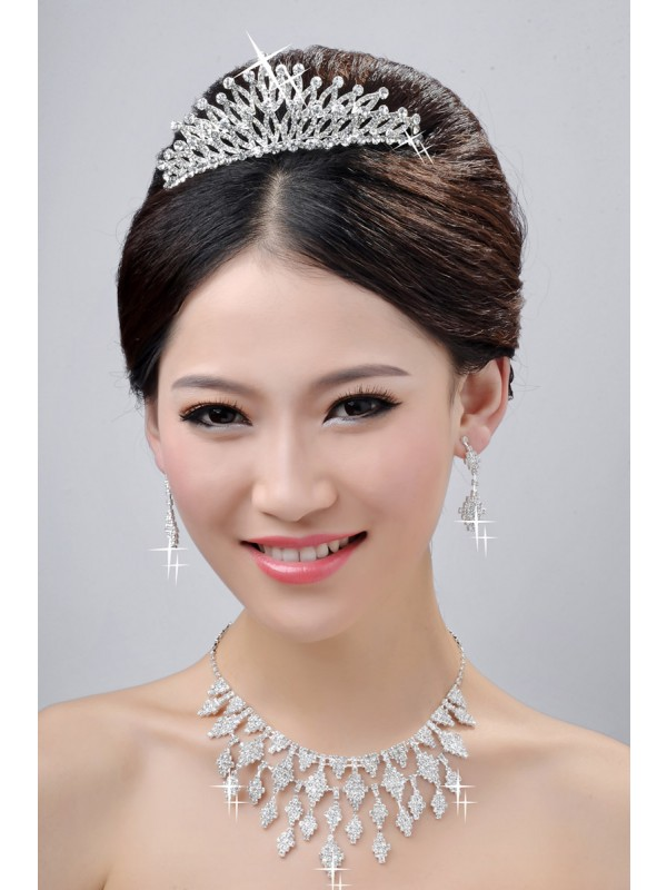 Gorgeous New Style Charming Alloy Clear Crystals Wedding Headpieces Necklaces Earrings Set