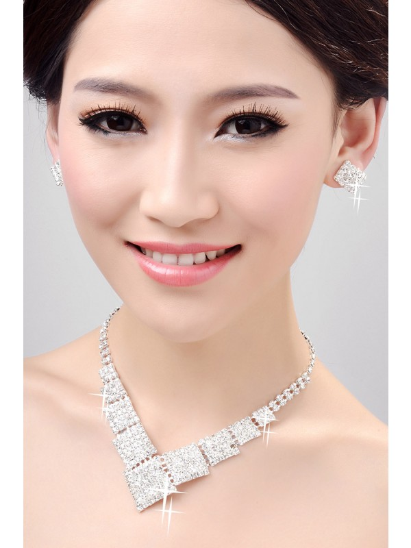 Gorgeous Nice Alloy Clear Crystals Wedding Necklaces Earrings Set