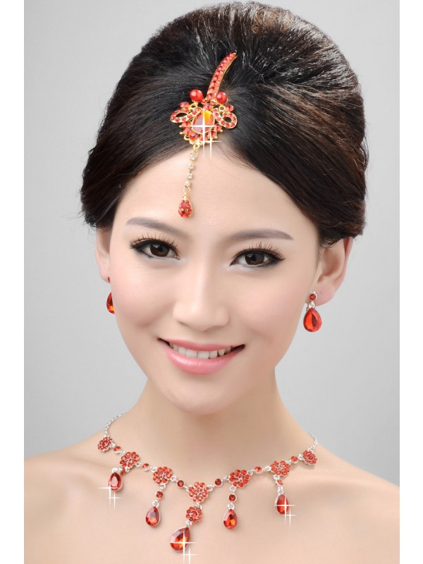 Gorgeous Nice Alloy Crystals Pearls Wedding Headpieces Necklaces Earrings Set