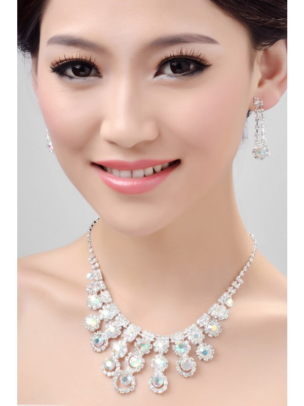 Gorgeous Nice Alloy Rainbow Crystals Wedding Necklaces Earrings Set