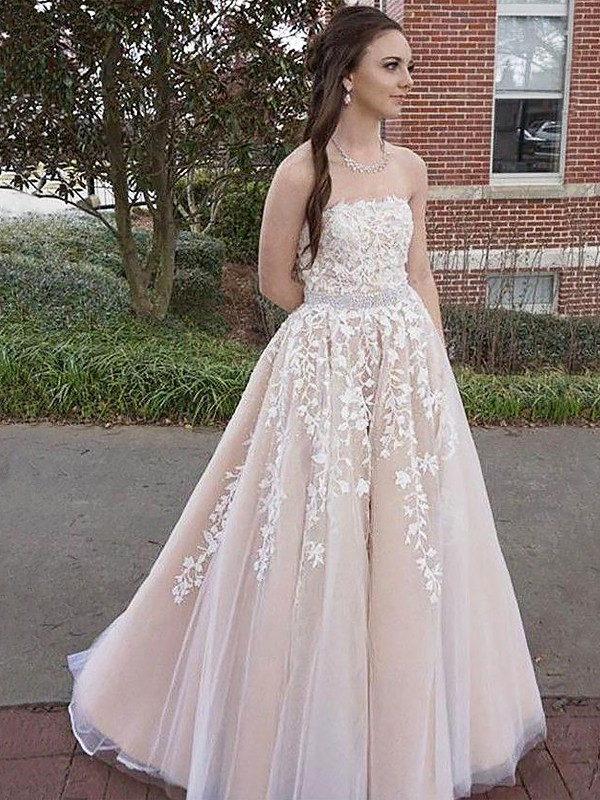 A-Line/Princess Strapless Tulle Sleeveless Floor-Length Dresses