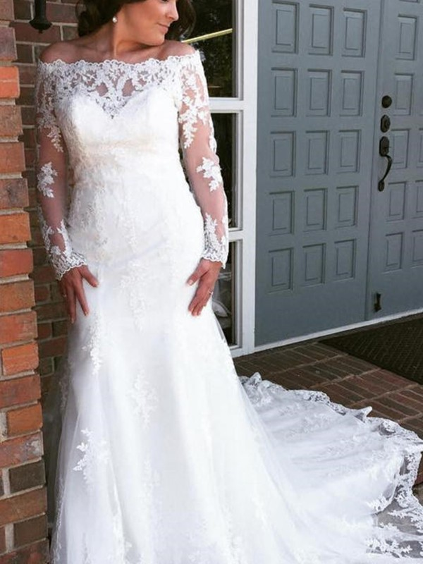 Trumpet/Mermaid Off-the-Shoulder Tulle Long Sleeves Cathedral Train Wedding Dresses