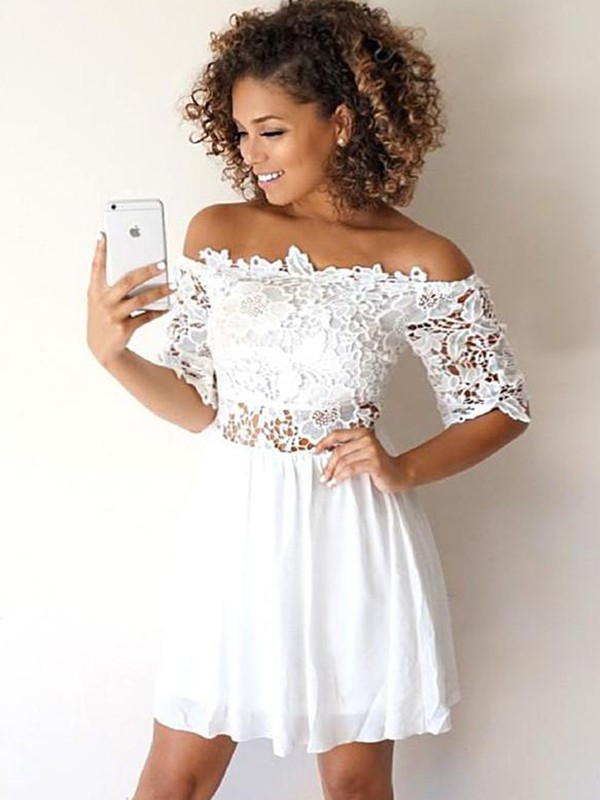 A-Line/Princess Off-the-Shoulder Chiffon 1/2 Sleeves Short/Mini Two Piece Dresses