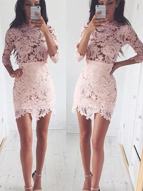 A-line/Princess Scoop Lace 1/2 Sleeves Short/Mini Dresses