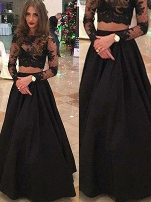 A-Line/Princess Scoop Lace Long Sleeves Floor-Length Two Piece Dresses
