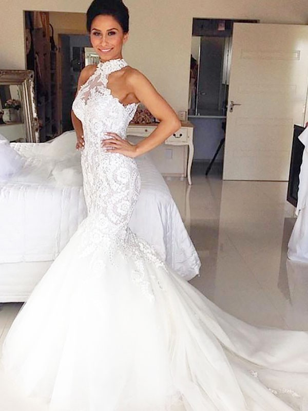 Trumpet/Mermaid Halter Tulle Sleeveless Court Train Wedding Dresses