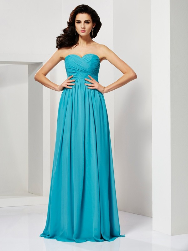 A-Line Princess Pleats Sweetheart Sleeveless Long Chiffon Dresses ... 0c8a6076b