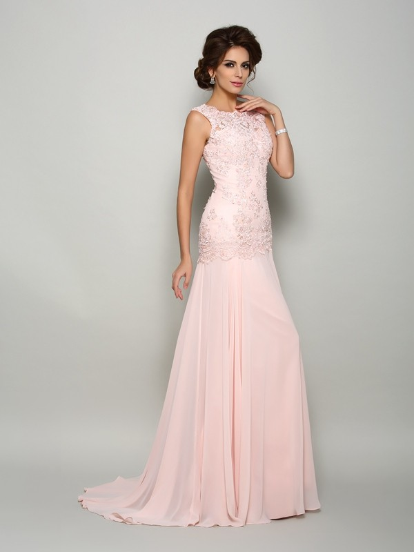 362a8f59bcf Trumpet Mermaid Scoop Chiffon Sleeveless Sweep Brush Train Mother of the Bride  Dresses