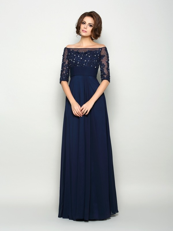 A Line Princess Off The Shoulder Chiffon 1 2 Sleeves Floor Length Mother Of Bride Dresses