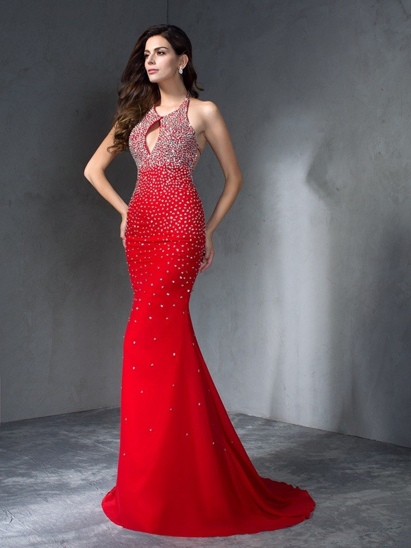 a5a5a4e3ba0 Trumpet Mermaid Halter Chiffon Sleeveless Sweep Brush Train Prom Dresses