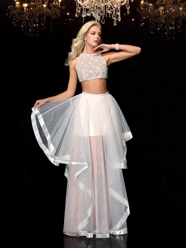 A Line Princess Scoop Applique Sleeveless Long Tulle Two