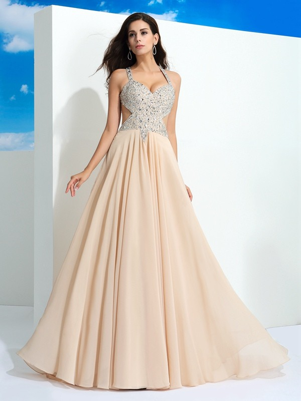 b4b99ecb02 A-Line Princess Straps Chiffon Sleeveless Sweep Brush Train Prom Dresses