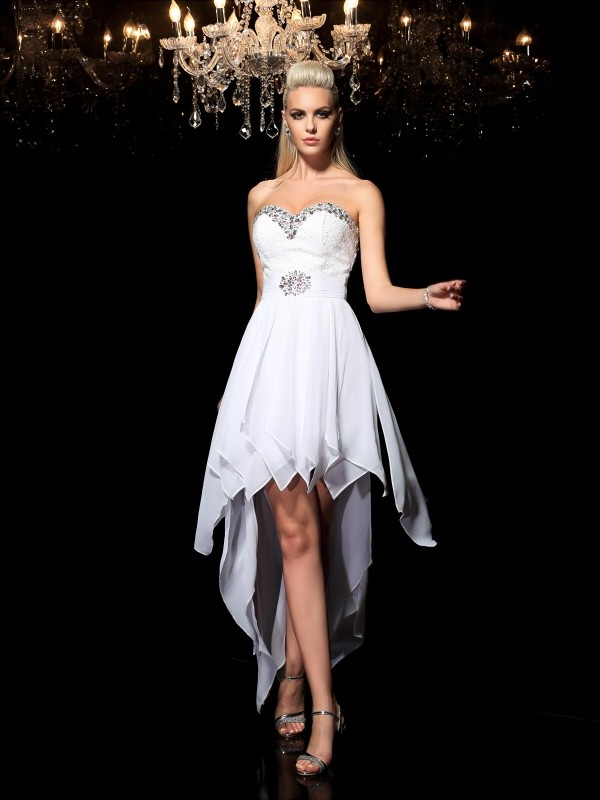 2bd8a8d8516d5 A-Line Princess Sweetheart Beading Sleeveless High Low Chiffon Cocktail  Dresses - Queenabelle