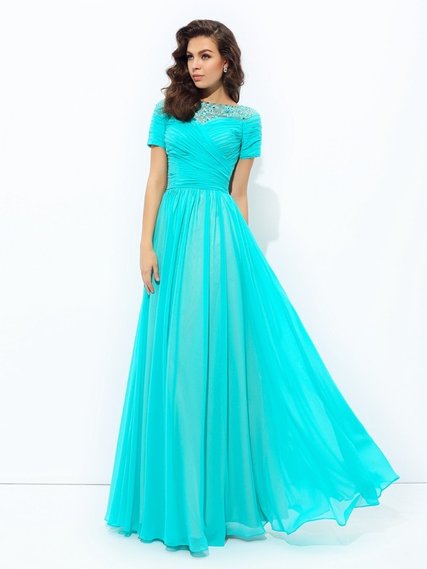 b9871433ae A-line Princess Bateau Chiffon Short Sleeves Floor-Length Evening Dresses