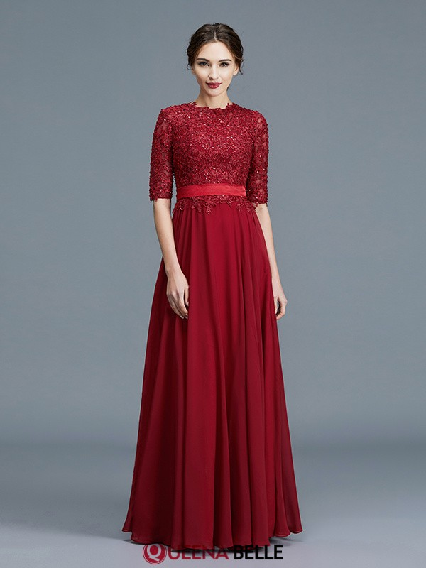 8ee3845f99a A-Line Princess Scoop Chiffon 1 2 Sleeves Floor-Length Mother of the ...