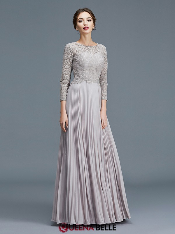 bb0af5f794 A-Line Princess Scoop Chiffon 3 4 Sleeves Floor-Length Mother of the ...