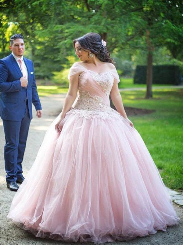 Ball Gown Off-the-Shoulder Sleeveless Applique Floor-Length Tulle ...