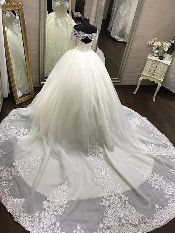 Ball Gown Off The Shoulder Tulle Long Sleeves Cathedral Train Wedding Dresses