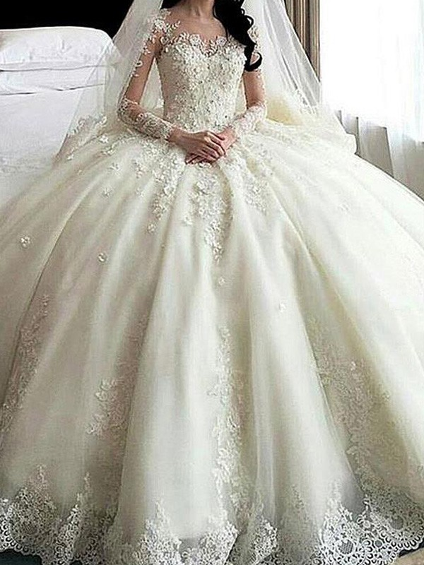 4ca360ca5cf3 Cathedral Train Ball Gown Long Sleeves Scoop Tulle Wedding Dresses ...