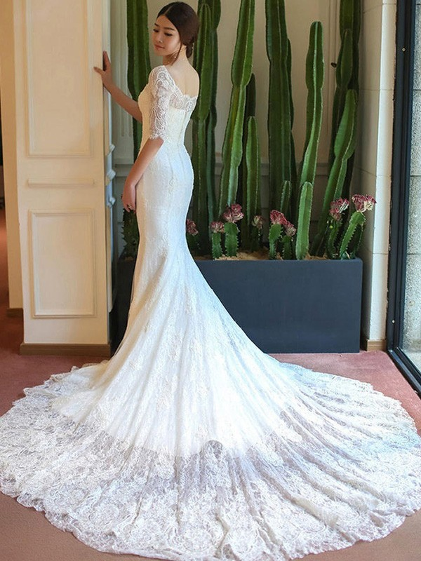 1bc71767cdc9 Trumpet/Mermaid Square Lace 1/2 Sleeves Cathedral Train Wedding Dresses