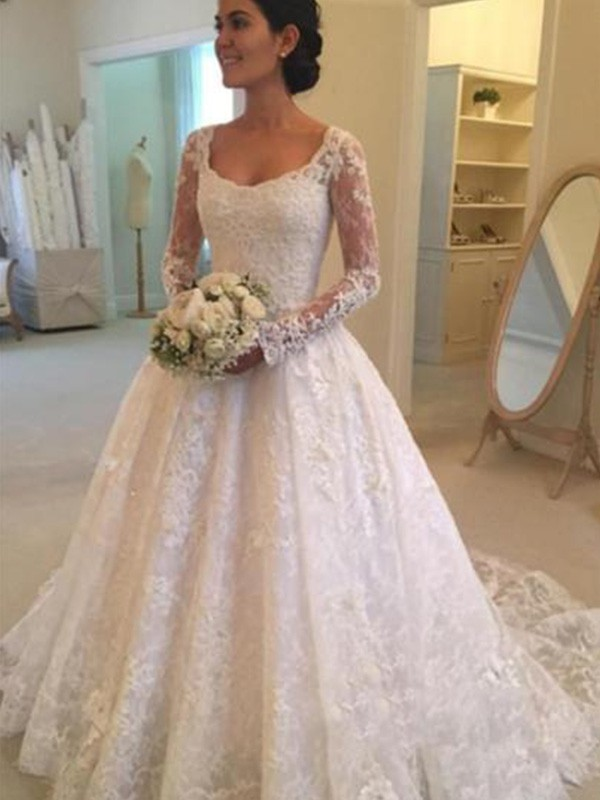 c04df2562354 Cathedral Train Ball Gown Long Sleeves Scoop Lace Wedding Dresses ...
