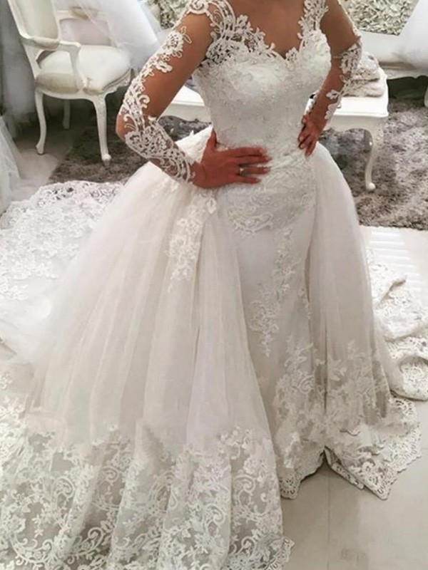 a8fb2dedaa34a Cathedral Train Ball Gown Long Sleeves V-neck Tulle Wedding Dresses ...