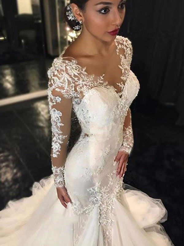 08a84d42bc5e0 Trumpet/Mermaid V-neck Long Sleeves Lace Court Train Tulle Wedding ...