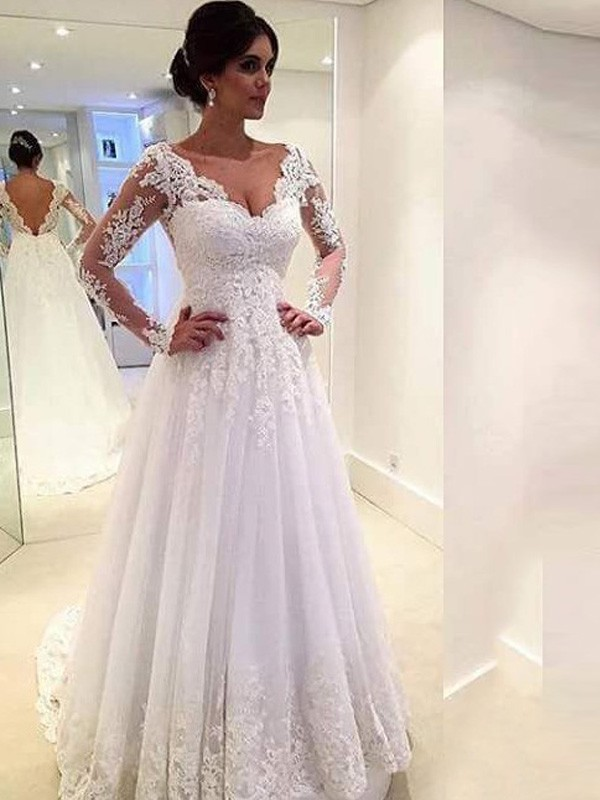 b10a893fb Ball Gown V-neck Long Sleeves Lace Sweep/Brush Train Tulle Wedding ...