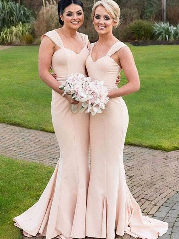 latest design look out for footwear Trumpet/Mermaid Sweetheart Satin Sleeveless Floor-Length Bridesmaid Dresses