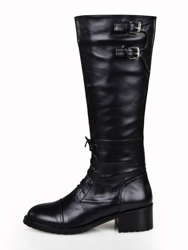 e5fdfcd3ff90 Women s Cattlehide Leather Kitten Heel Closed Toe With Zipper Knee High  Black Boots - Queenabelle